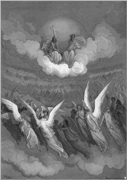 Dore, Gustave: The Heavenly Hosts, Illustration from Paradise Lost by John Milton. Fine Art Print/Poster. Sizes: A4/A3/A2/A1 (001838)